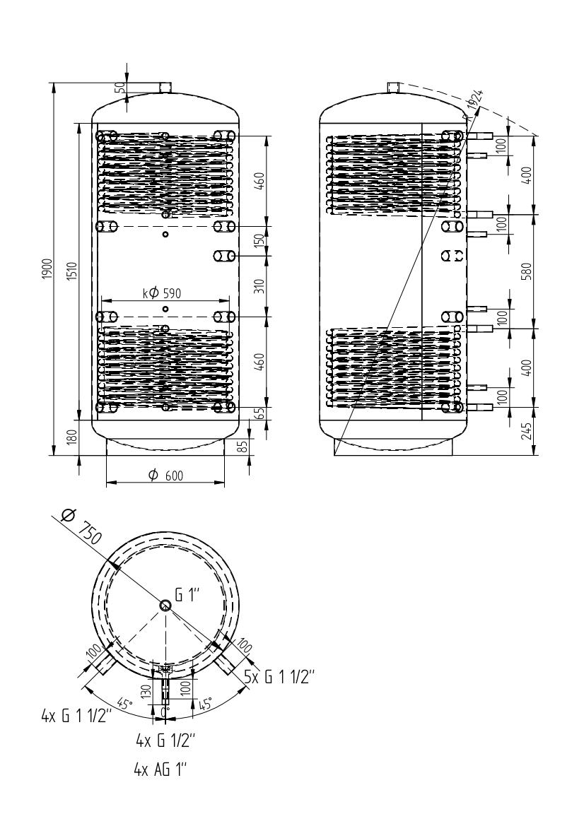 Akumulační nádrž 750l se 2 výměníky
