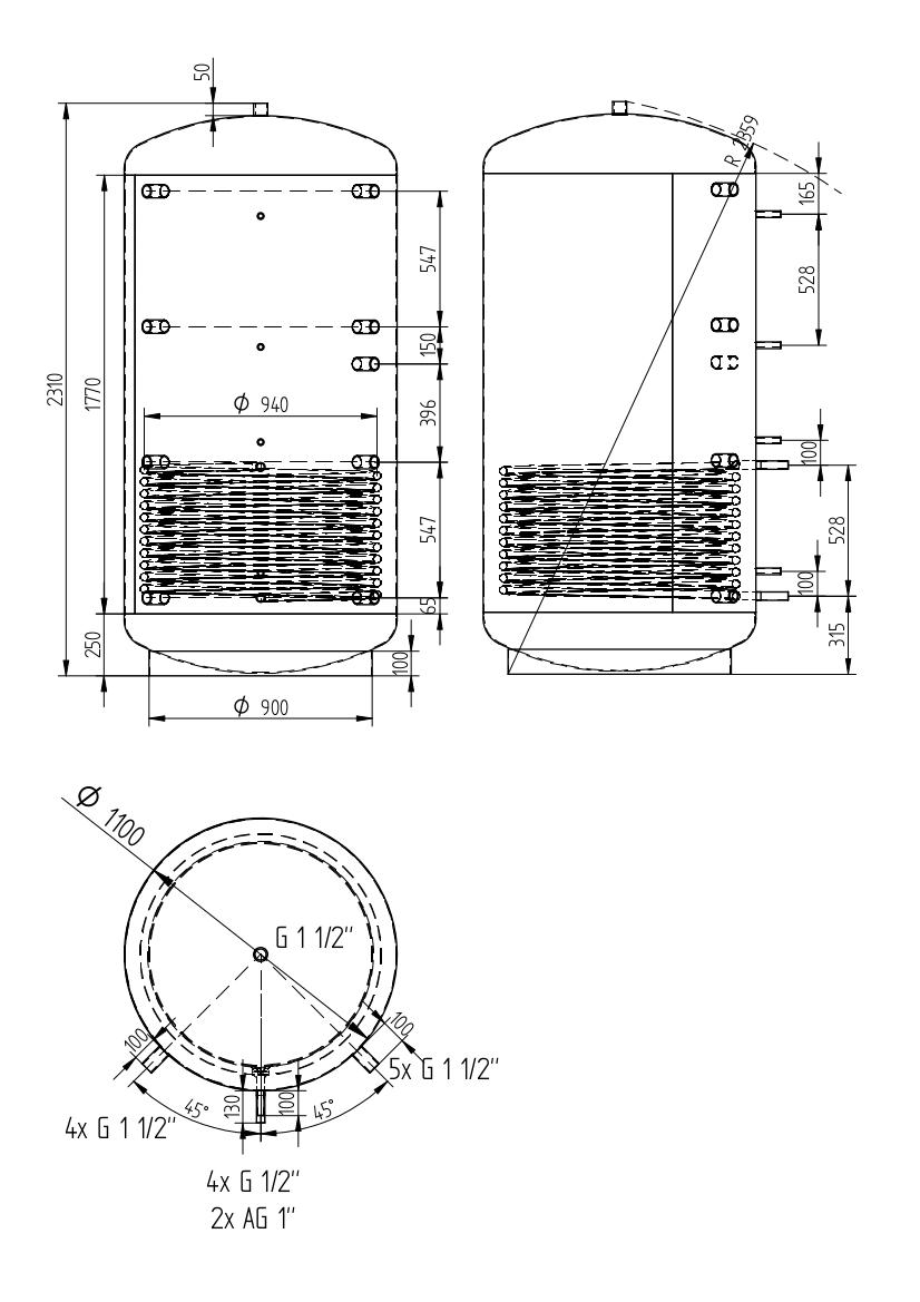 Akumulační nádrž 2000l