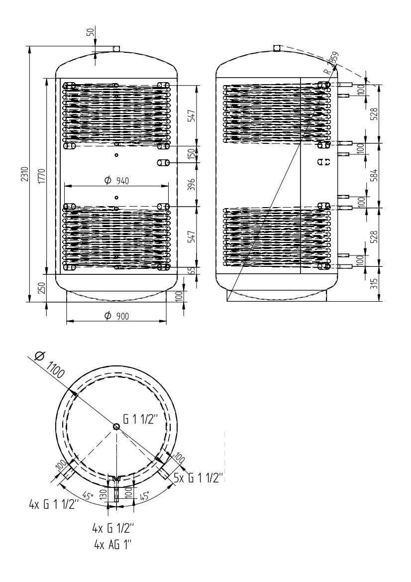 Akumulační nádrž 2000l se 2 výměníky